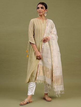White Handwoven Chanderi Silk Cotton Dupatta