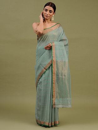 Green Handwoven Chanderi Silk Cotton Saree