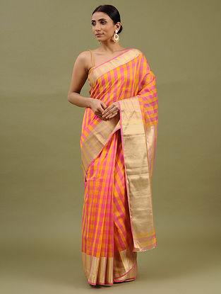 Pink-Yellow Handwoven Chanderi Silk Cotton Saree