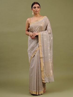 Grey Handwoven Chanderi Silk Cotton Saree