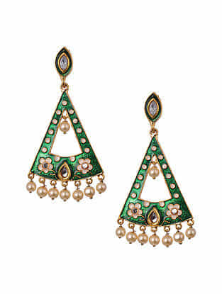 Green White Gold Tone Enameled Earrings With Pearls