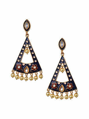 Blue Red Gold Tone Enameled Earrings With Pearls
