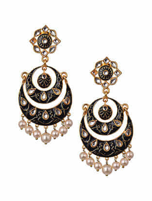Black Gold Tone Enameled Chandbali Earrings With Pearls