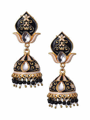 Black White Gold Tone Enameled Jhumki Earrings