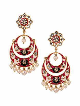 Pink Cream Gold Tone Enameled Chandbali Earrings With Pearls