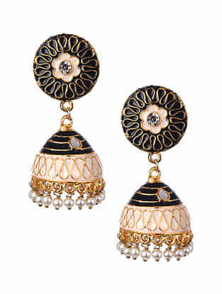 Black White Gold Tone Enameled Jhumki Earrings With Pearls