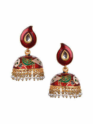Multicolored Gold Tone Enameled Jhumki Earrings With Pearls