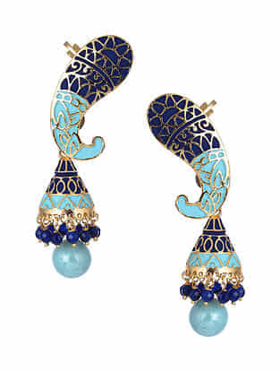 Blue Gold Tone Jhumki Earrings