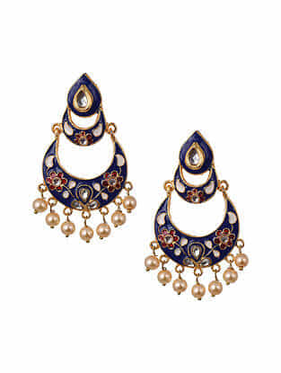 Blue Gold Tone Enameled Chandbali Earrings With Pearls