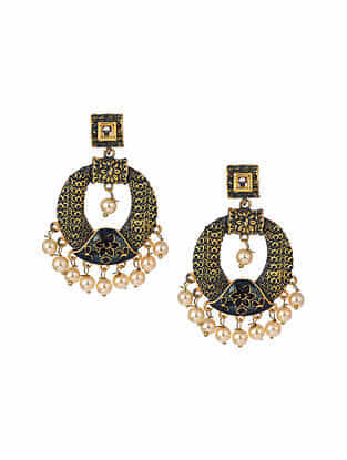Green Gold Tone Enameled Chandbali Earrings With Pearls