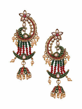 Red Green Gold Tone Enameled Beaded Earrings
