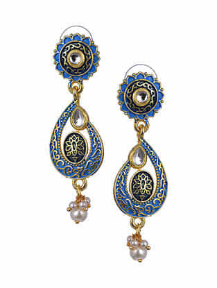 Blue Gold Tone Enameled Earrings With Pearls