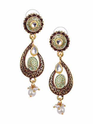 Maroon Green Gold Tone Kundan Enameled Earrings With Pearls