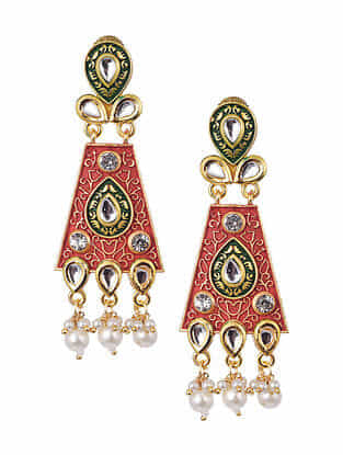 Red Green Gold Tone Kundan Enameled Earrings With Pearls