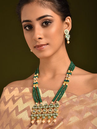 Green Gold Tone Kundan Beaded Necklace And Earrings With Pearls