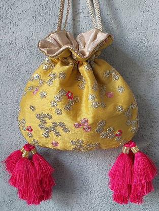 Mustard Hand Embroidered Silk Potli