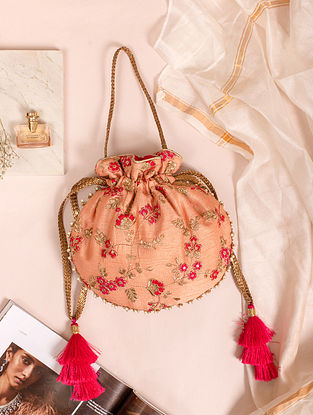 Blush Pink Hand Embroidered Silk Potli