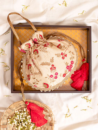 Cream Hand Embroidered Silk Potli