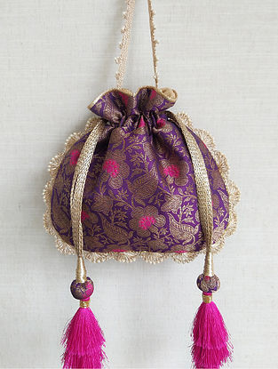 Purple Handcrafted Banarasi Silk Potli
