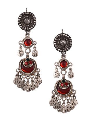 Red Glass Vintage Silver Earrings
