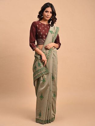 Grey-Green Block Printed Saree with Hand Embroidery