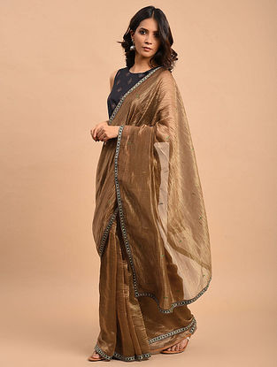 Brown Embroidered Tissue Chanderi Saree