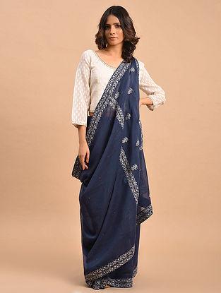 Blue Embroidered Tissue Chanderi Saree