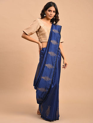 Blue Embroidered Tissue Chanderi Saree