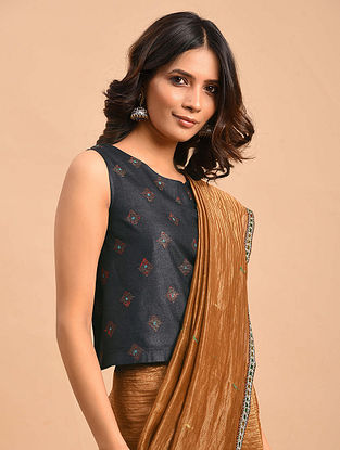 Charcoal Embroidered Tussar Cotton Blouse