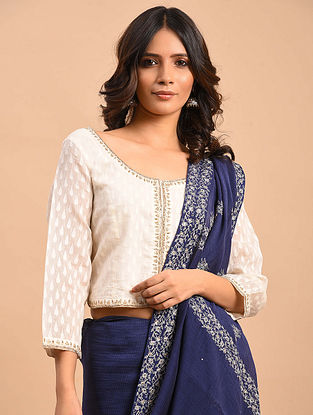 White Embroidered Chanderi Blouse