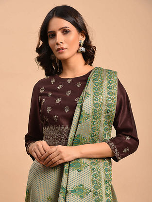 Coffee Embroidered Chanderi Blouse