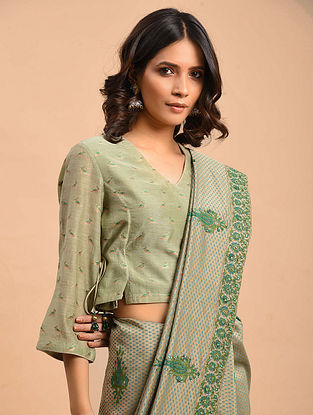 Green Embroidered Chanderi Blouse