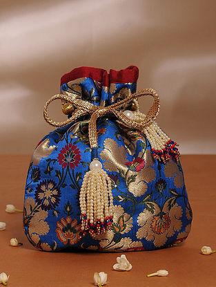 Blue Handcrafted Khim Khwab Brocade Potli
