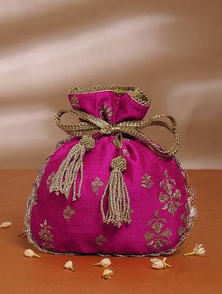 Fuschia Pink Handcrafted Tussar Silk Potli