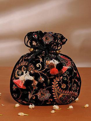 Black Handcrafted Velvet Potli