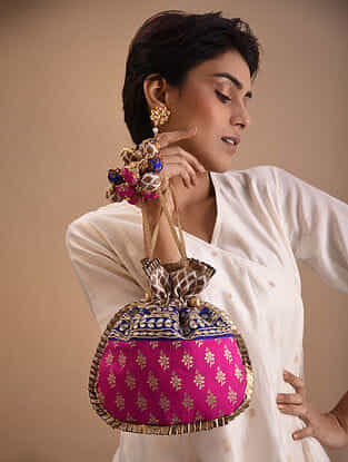 Pink Blue Handcrafted Brocade Potli