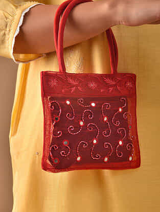 Red Hand Embroidered Rayon Hand Bag