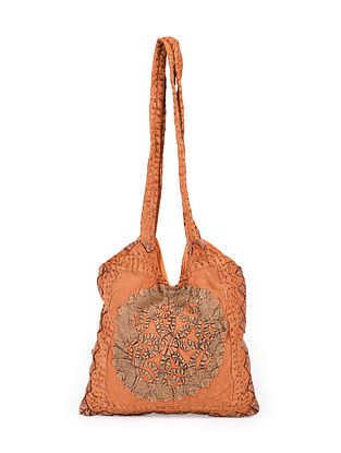 Rust Hand Embroidered Cotton Tote Bag