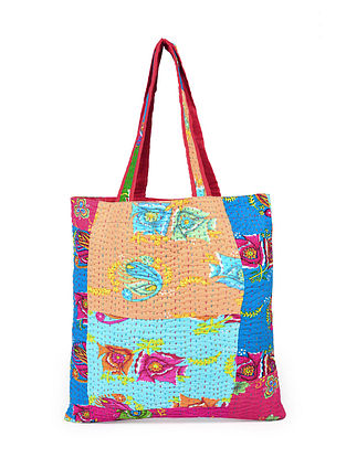 Multicolored Hand Embroidered Cotton Tote Bag