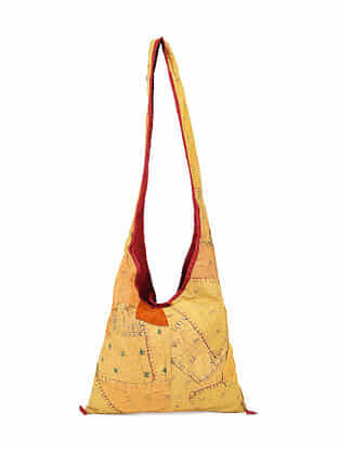 Mustard Hand Embroidered Cotton Tote Bag