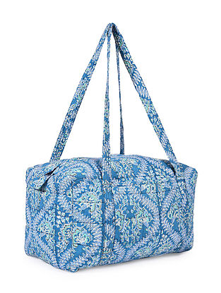 Blue Hand Block Printed Cotton Luggage Bag