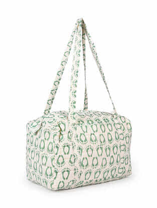 Green White Hand Block Printed Cotton Luggage Bag