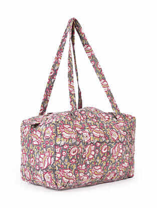 Multicolored Hand Block Printed Cotton Luggage Tote Bag