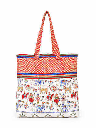 Multicolored Hand Block Printed Cotton Tote Bag