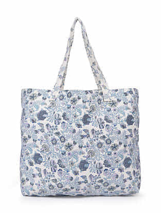 Purple White Hand Block Printed Cotton Tote Bag
