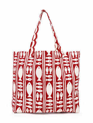 Red White Hand Block Printed Cotton Tote Bag