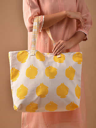 Yellow White Hand Block Printed Cotton Tote Bag