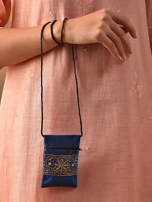 Blue Hand Embroidered Velvet Pouch Sling Bag