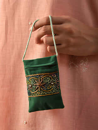 Green Hand Embroidered Velvet Pouch Sling Bag