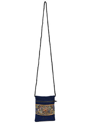 Navy Blue Hand Embroidered Velvet Pouch Sling Bag